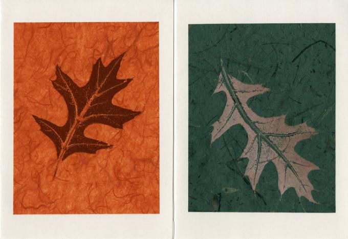 Oak Leaf on Rust; Green