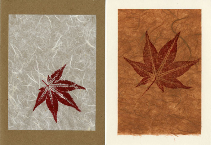 Japanese Maple White on Kraft; Rust on Ivory