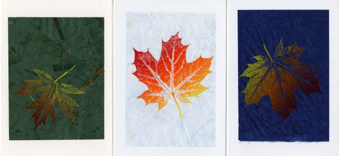 Maple Leaf on Dark Green; Light Blue; Dark Blue
